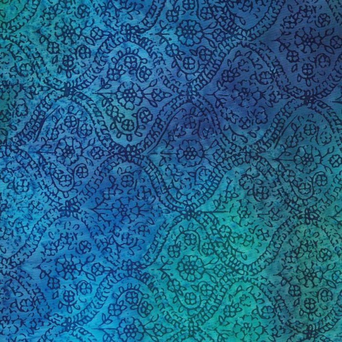 Blue and green batik with a wave design.