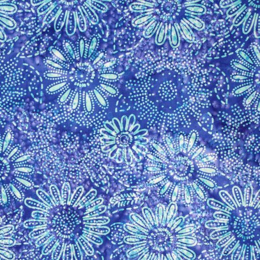 Blue daisy batik fabric.