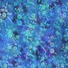 Blue flower and leaf batik fabric.