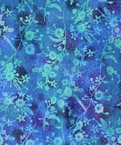 Blue flower and leaf batik fabric.
