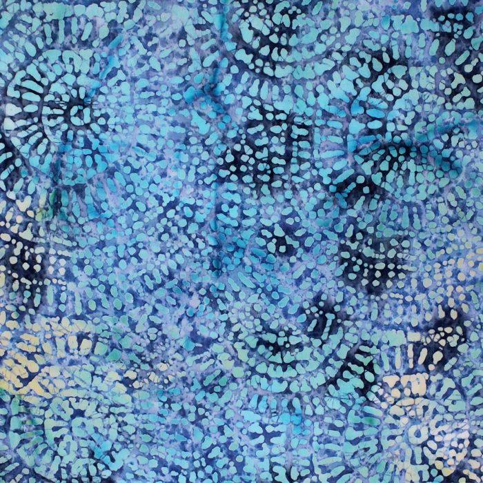 Blue spiral batik fabric.