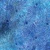 Blue spinning wheel batik fabric.