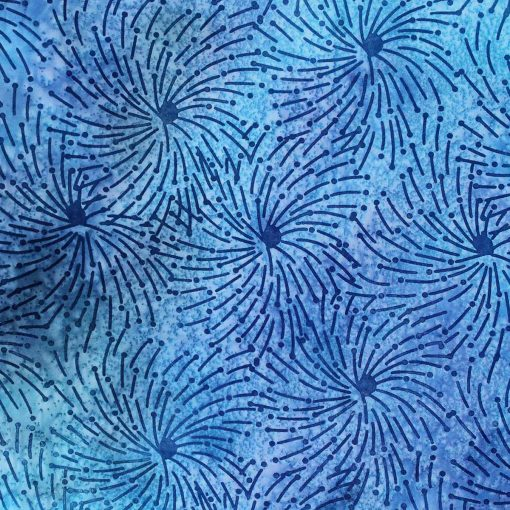 Blue spinning wheel batik fabric.