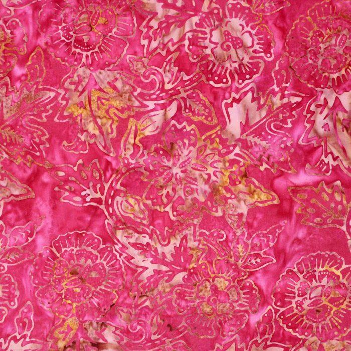 Red and orange floral batik fabric.