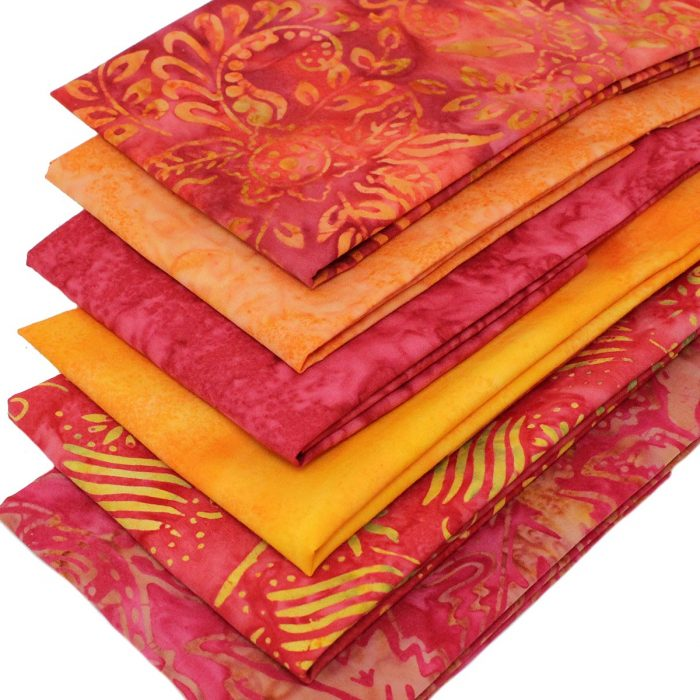 Orange and yellow batik fat quarters.