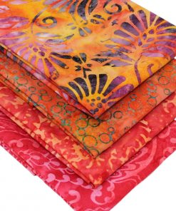 Orange batik fat quarter fabrics.