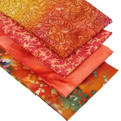 Orange batik fat quarters.