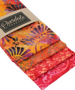 Batik fat quarter pack in shades of orange and red.