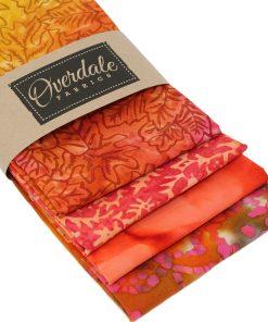 Batik fat quarter fabrics in orange.