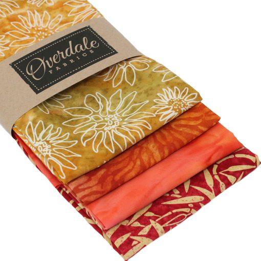 Orange batik fabrics.