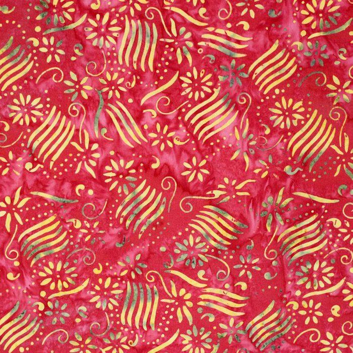 Bali batik fabric in orange and yellow.