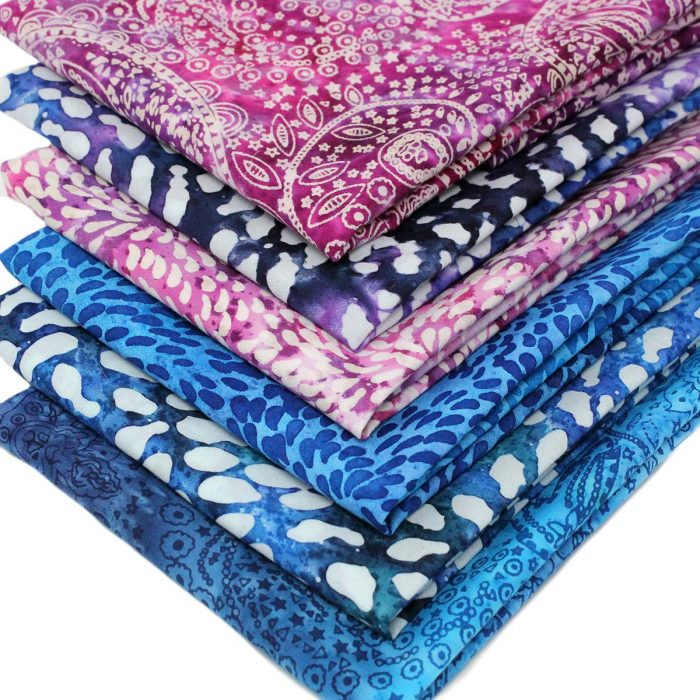 Batik fat quarters in blue and pink