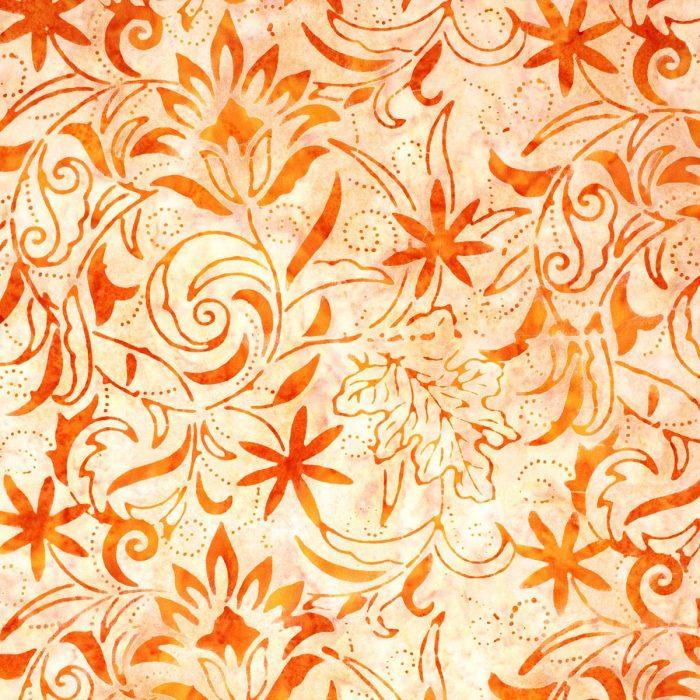 Orange floral batik fabric.