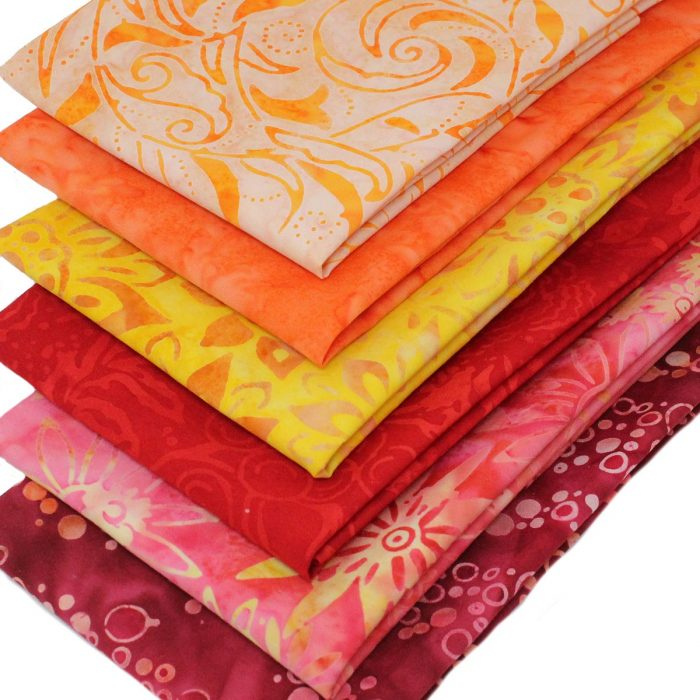 Sunset themed Bali batik fabrics.