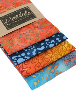 Orange and blue batik fat quarter pack.