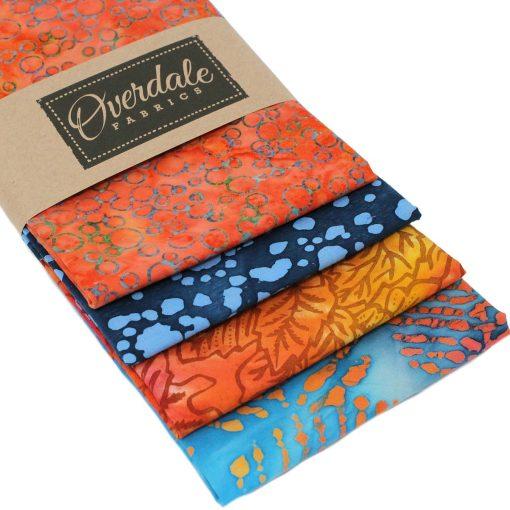 Orange and blue batik fat quarter pack.