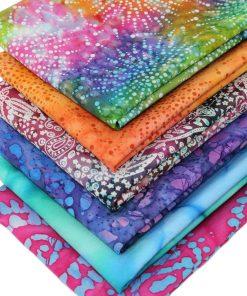 Vibrant batik fat quarter fabrics.