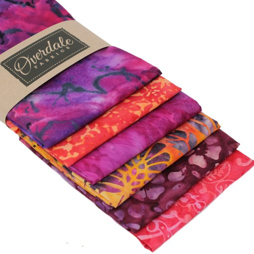 Batik fat quarter pack in orange and pink.