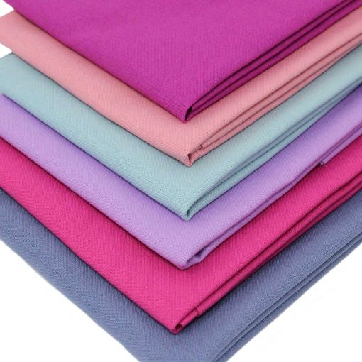 plain solid fat quarter pack in dusky shades of pink, blue and lilac