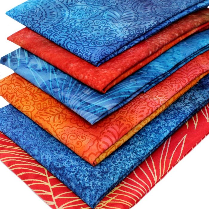 Orange and blue batik fat quarters.