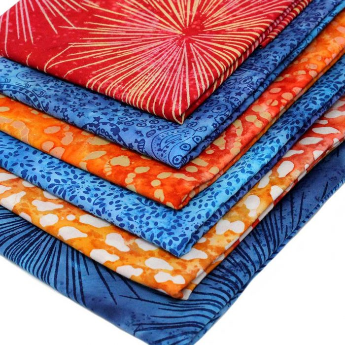 Orange and blue batik fat quarter bundle.