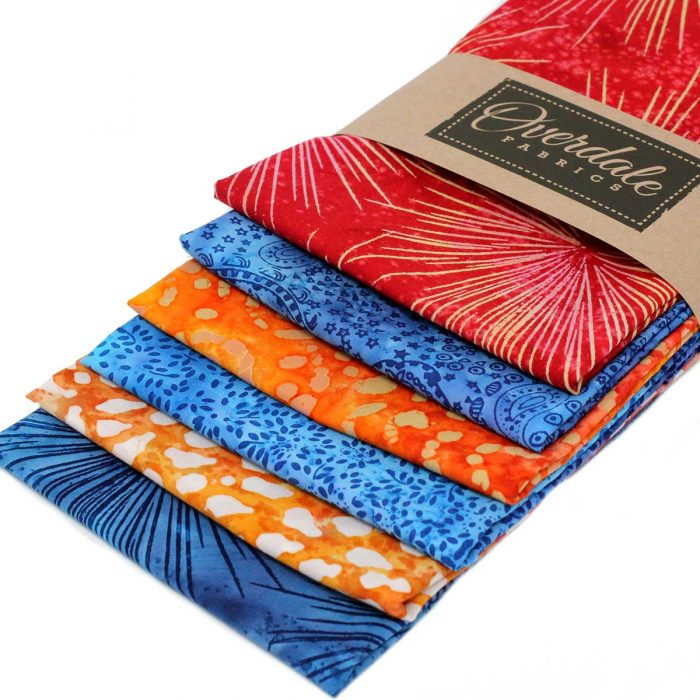 Fat quarter pack in orange and blue.