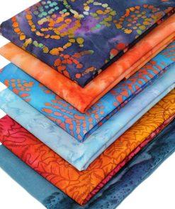 Orange and blue batik fabrics.