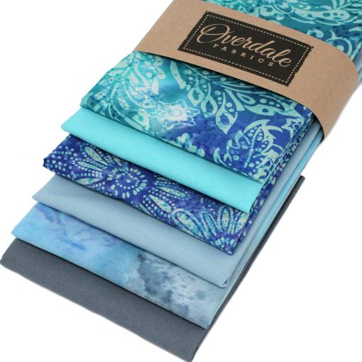 Blue and grey fat quarter fabric pack.
