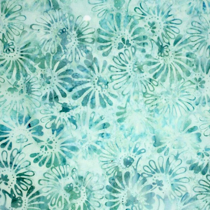 Blue green sea flower batik fabric