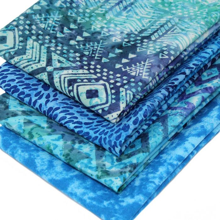 Turquoise blue batik fat quarters