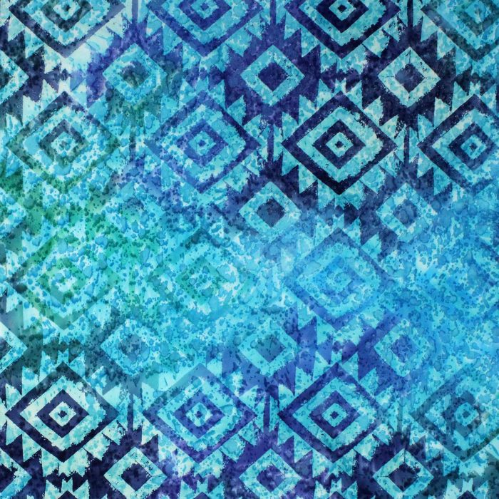 Batik turquoise fabric with a diamond design.