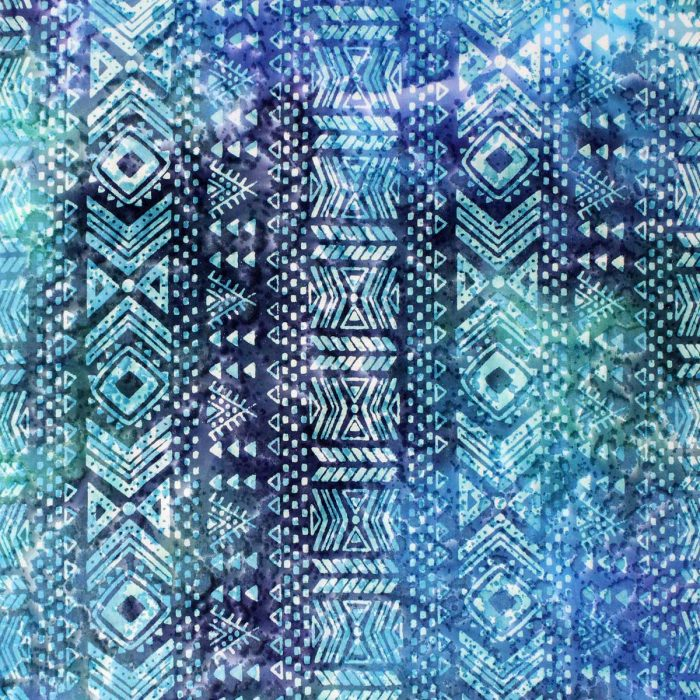 Blue batik with a column design.