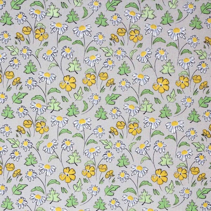Printed fabric featuring daisies and buttercups.