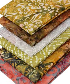 Bali batik fat quarter fabrics in earthy colours.