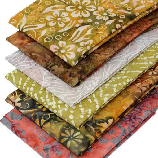 Bali batik fat quarter fabrics in earthy colours.