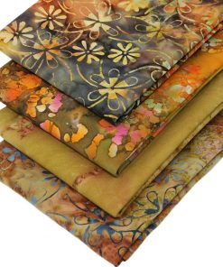 Batiks in earthy browns and oranges.