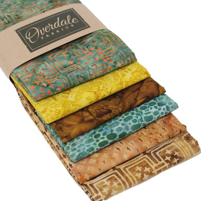 Bali batik fabrics in earthy shades, fat quarter pack by Overdale Fabrics.