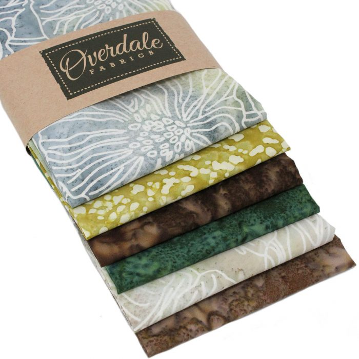 Fat quarter pack of cotton fabric batiks in natural colours.