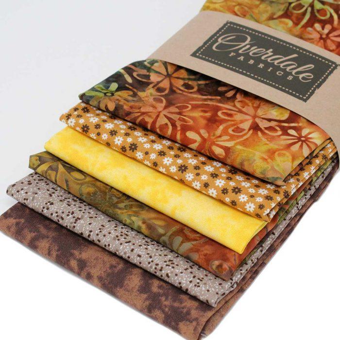 Batik fat quarter pack in earthy tones.
