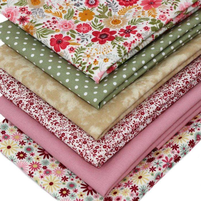 Floral fat quarters in red, pink and green.