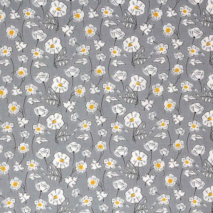 Grey and yellow floral fabric by Debbie Shore.