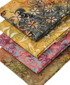 Batiks in earthy shades featuring flowers.