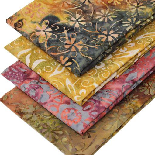 Batiks in earthy shades featuring flowers.