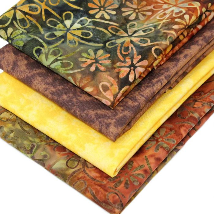 Batik fat quarters in earthy shades.