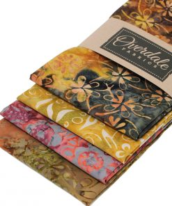 Bali batik fat quarter pack in shades of brown, orange and ochre.
