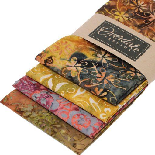 Bali batik fat quarter pack in shades of brown, orange and ochre.