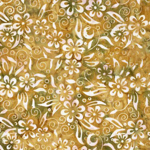 Ochre flower batik.