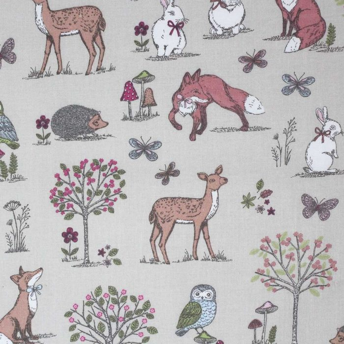 Fabric print featuring a woodland scene.
