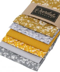 Ochre yellow and grey floral fat quarter fabrics.
