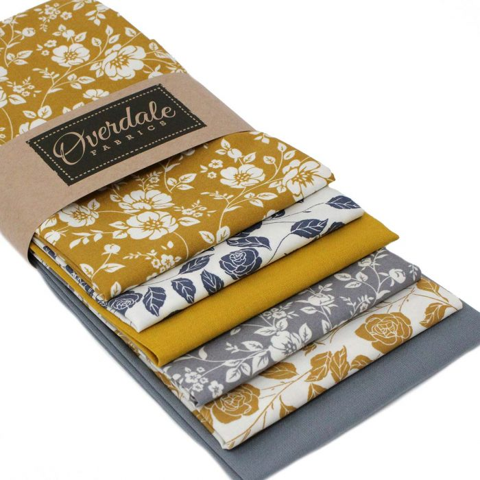 Mustard and grey floral fat quarter pack.